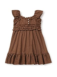 Beetlejuice Girl's 2T-6X Buttercream Ruched Polka Dot Dress (Brown)