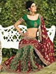 Red,green Georgette Zari Work,stone Work,moti Work