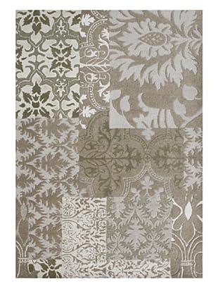 Horizon Floral Patchwork Rug (Olive Green/Beige Multi)