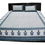 Trendy Jaipuri Sanagari Print Double Bed Sheet With Two Pillow Covers