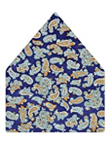 Tiekart Printed Silk Pocket Square (Ps359_Blue)