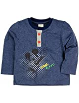 Infant Boys Full Sleeve T-Shirt With Henley Neck - Navy (0-6 Months)