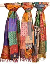 Exotic India Lot of Three Reversible Printed Kantha Scarves from Ko - multicolor