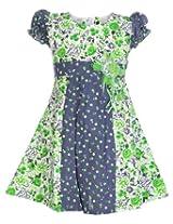 Babyhug Puff Sleeves Dual Color Frock - Floral Print