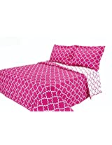 Eileen West Lattice by Melange Home Super Soft Quilt Set, King, Pink