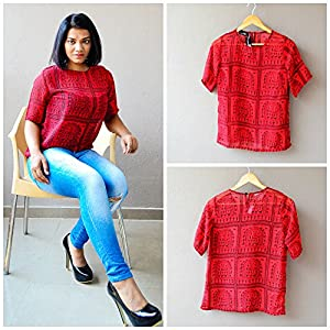 Madhurima Bhattacharjee Red Boxy Top-US size 8