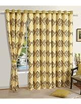 Swayam Printed Eyelit Door Curtain - Beige (CURD-1401)