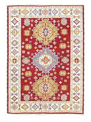 Hand-Knotted Royal Kazak Wool Rug, Cream/Red, 5' 7