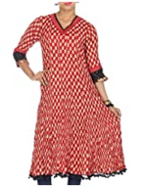 Rajrang Women's Printed Long Kurti (TOP05055_Red_Medium)