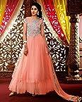 Peach Georgette Top With Santoon Bottom & Chiffon Dupatta Resham & Heavy Zari Embroidery Work Anarkali Salwar Suit Set