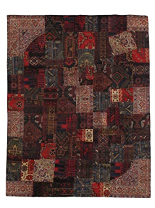Vintage Patchwork Rug (Red/Charcoal/Brown/Ivory)