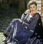 Long Gown Style Grey Top, Black Bottom & Black Dupatta Net+Inner Top With Santoon Bottom & Chiffon Dupatta Heavy Embroidery Work With Stone Work Anarkali Salwar Kameez Suit
