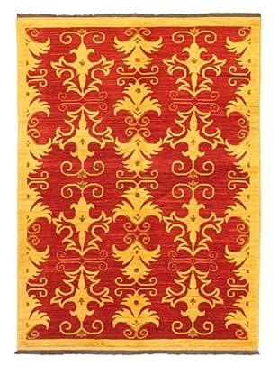 Gabbeh Modern Rug, Light Khaki/Red, 5' x 6' 10