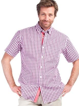 Cortefiel Camisa Cuadro Abierto (Fucsia / Blanco)