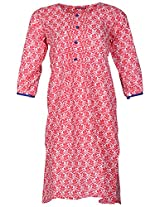 Bunkaari India Women's Cotton Regular Fit Kurti (00LK 12_40, Red and white, 40)