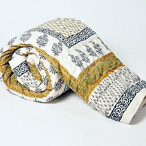 Little India Jaipuri Hand Block Print Cotton Double Bed Quilt - Green  (DLI3DRZ319)