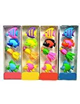 4 Fish Shapes Erasers & Smiley Cartoon Pencil n Colored Pencil