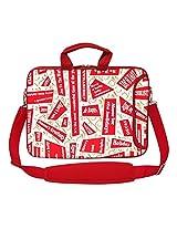 Meffort Inc 15 15.6 inch Red Color Matching Neoprene Laptop Bag Sleeve with Extra Side Pocket, Soft Carrying Handle & Removable Shoulder Strap - Wording