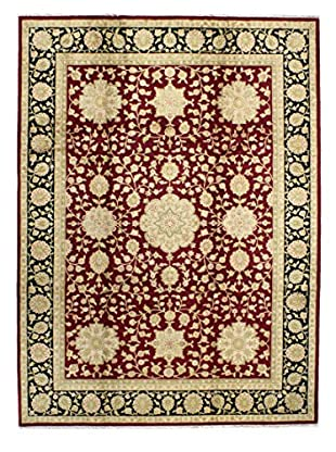 Bashian Hand Knotted Chinese Agra Silk Flower Rug, Burgundy, 8' 9