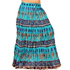 Fashionable Ethnic Turquoise Cotton Long Skirt - 262
