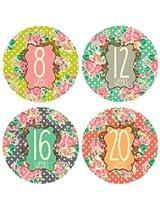 Lucy Darling Shop Pregnancy Belly Sticker Floral Design Weeks 8 40 (12 Stickers)