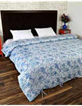 Trendy Hand Block Printed Cotton Duvet Cover Double White Floral By Rajrang