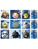 Angry Birds Star Wars 9 Piece Holiday Christmas Ornament Set Featuring Luke Chewbacca Stormtrooper C3PO Darth Vader Obi Wan Princess Leia Yoda Han Solo and R2D2 - Shatterproof Plastic Ornaments Range from 2 to 3 Tall