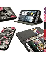 iGadgitz 'Vintage Collection' Wallet Flip Pink on Black Floral PU Leather Case Cover for HTC One M8 2014 With Card Slots + Viewing Stand + Magnetic Closure + Screen Protector