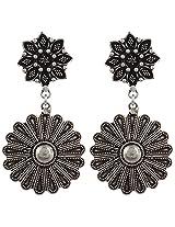 Haat4Art Oxidized Double Flower Silver Earrings for Women