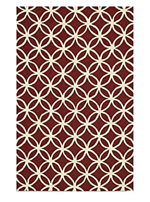 Venice Beach Indoor/Outdoor Rug (Red/Ivory)