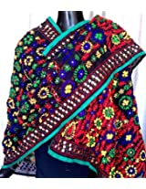 Phulkari Dupatta on Chanderi Fabric -Black