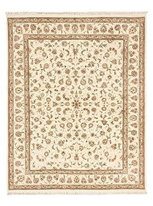 Hand-Knotted Sino Persian Wool & Silk Rug, Cream, 8' x 10'