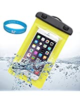 Sumaccn Underwater Waterproof Case Bag Pouch With Removable Armband For iPhone 6 / Motorola Moto X - 2nd Generation / Motorola DROID Turbo / Sony Xperia Z3v + SumacLife TM Wisdom Courage (Yellow)