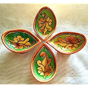 Color Crab - Blue Pottery Leaf Design Diya Set