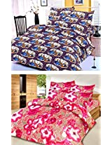 Nature Made Pack of 2 Pink & Violet Printed Double Bed Sheets 250 TC