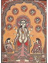 Exotic India Lord Ganesha - Madhubani Painting on Hand Made Paper - Folk Painting from the Village o