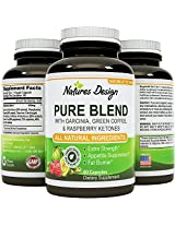 NEW Pure Garcinia Cambogia, Green Coffee Bean & Raspberry Ketones Complex + Green Tea - Highest Grade Pure Blend, Quality & Premium Formula - Dr Oz Recommended Dosages, Guaranteed By Natures Design
