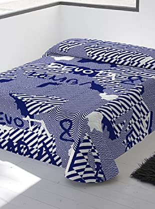 Devota & Lomba Colcha Bouti Grafic (Blanco / Azul)