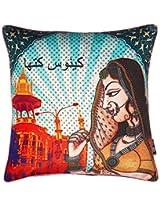"Kanvas Katha Digital Printed Polycotton Cushion Cover - 16""x16"""