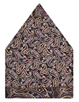 Tiekart Printed Silk Pocket Square (Ps387_Brown)