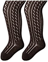 Country Kids Baby Girls' Open Weave Cotton Pellerine Tights 2 Pairs, Black, 12 24 Months