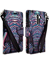LG G Stylo (Sprint, MetroPCS, Boost Mobile, Cricket) Case- Magnetic Leather Folio Flip Book Wallet Pouch Case Cover With Fold Up Kickstand and Detachable Wrist Strap - Tribal Elephant