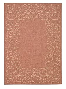 Indoor/Outdoor Floral Border Rug (Terracotta/Beige)