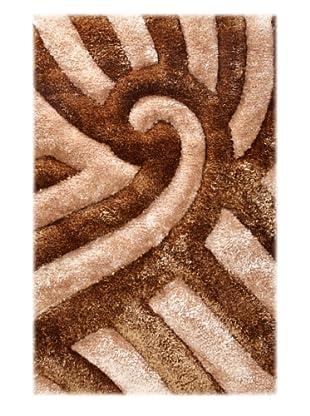 Manhattan Design District Wool Blend Luxury Shag (Brown/Tan)