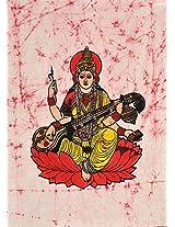 Exotic India Goddess Saraswati - Batik Painting On Cotton