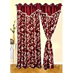 Mebelkart Beautiful maroon color flower design curtain with handmade laces