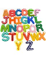 Gifts Online 26pcs Colorful Wooden A-Z Alphabet Letters Fridge Magnets Magnetic Stickers