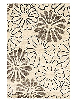 eCarpet Gallery One-of-a-Kind Hand-Knotted Royal Maroc Rug, Cream/Dark Brown, 4' x 6'