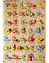 Skillofun Telugu Alphabet Puzzle Tray with Picture and Knobs