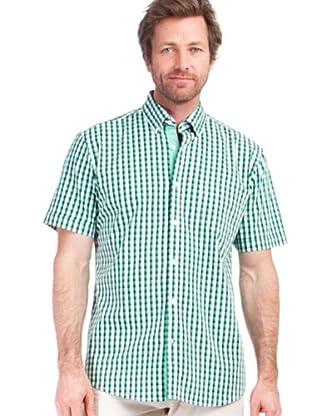 Cortefiel Camisa Cuadro Abierto (Verde / Blanco)